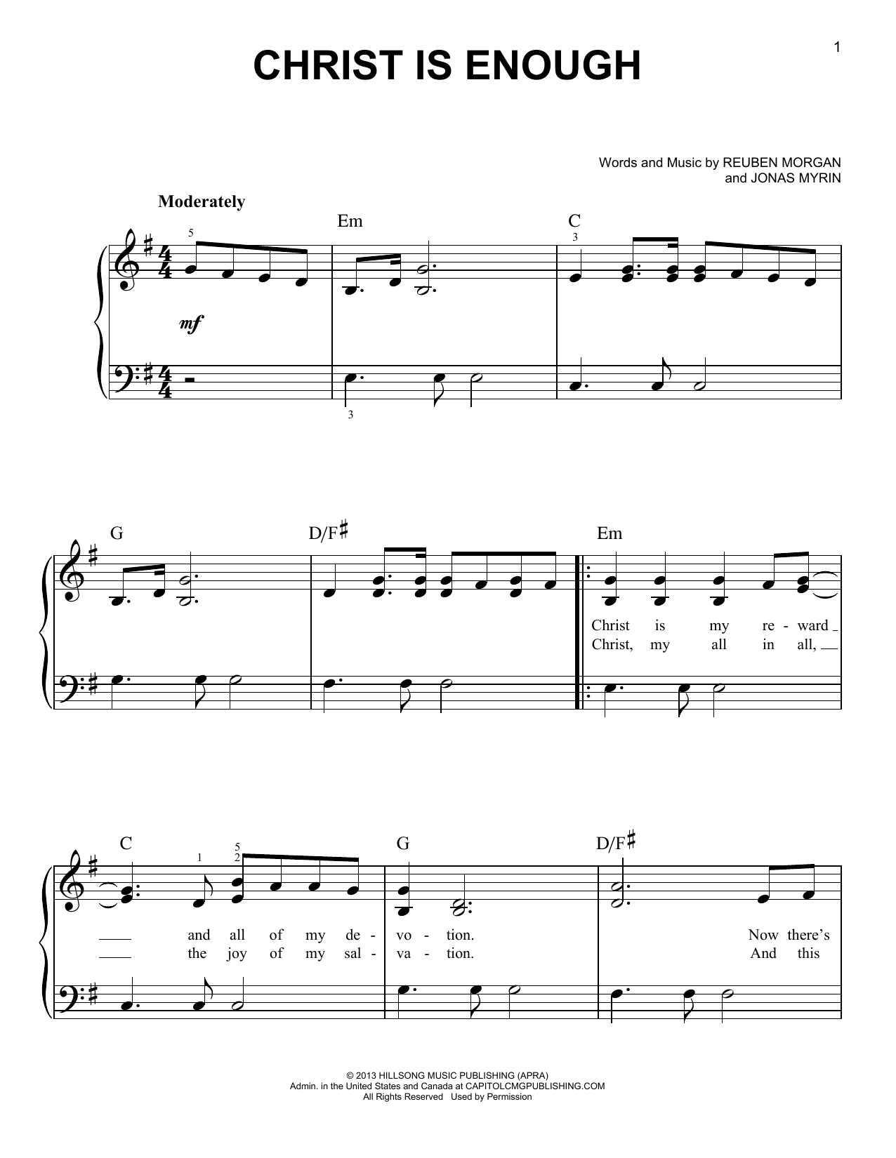 Christ is enough sheet music in g pdf
