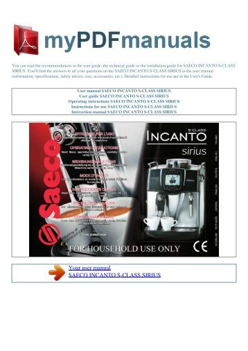 saeco incanto deluxe manual pdf